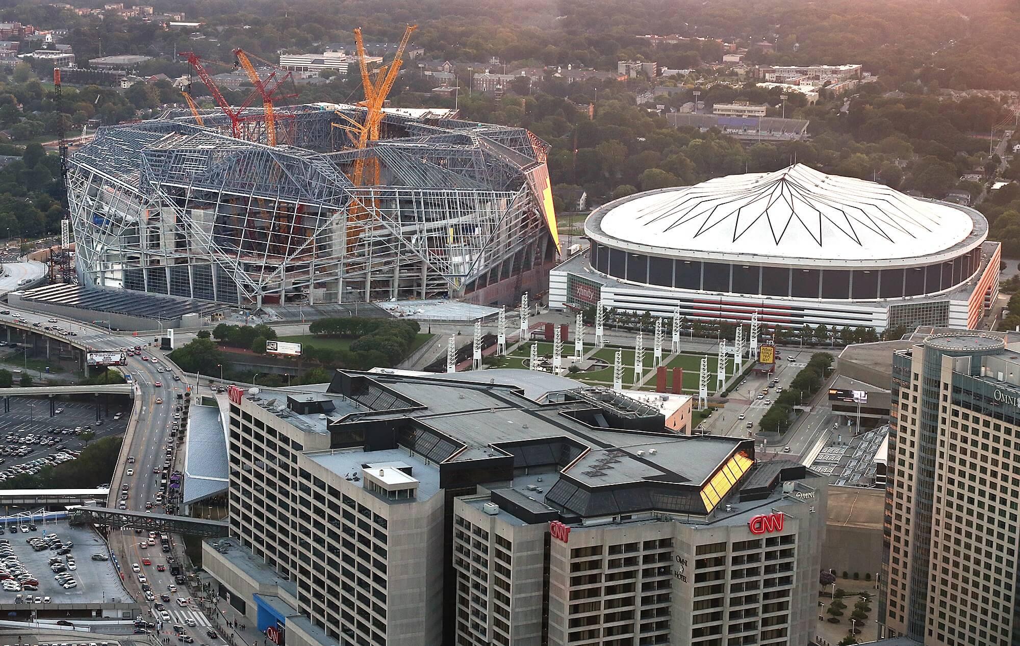 The atlanta falcons new football stadium for Mercedes benz south atlanta service